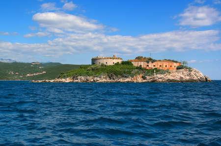 Island of Mamula fortress, the entrance to the Boka Kotorska bay, Montenegro Фото со стока