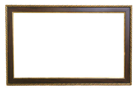 Empty old wooden frame on white background. Фото со стока