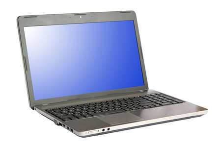 Modern laptop isolated on white photo