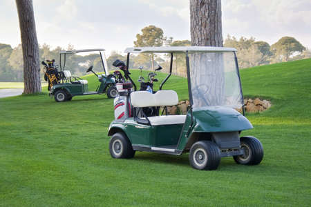 Golf cars on the field photo