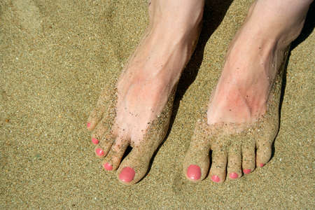 Female feet on the sand photo