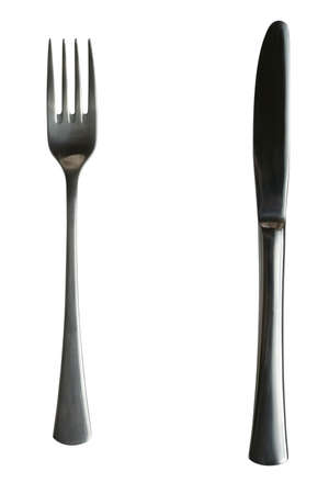 Fork and knife on white background photo