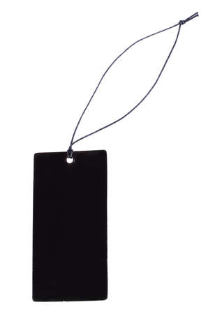 clothing tag: Black price tag isolated on white