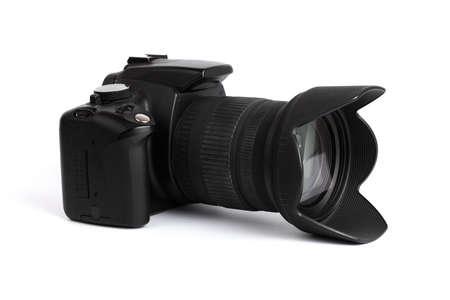 digicam: Digital SLR camera isolated on white Stock Photo