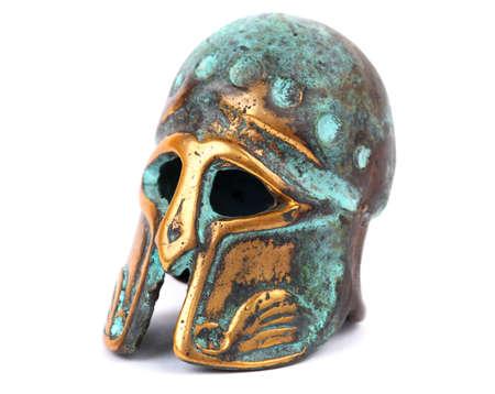 Bronze helmet isolated on white