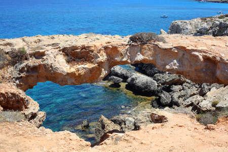 Rocky coastline next to Ayia Napa, Cyprus