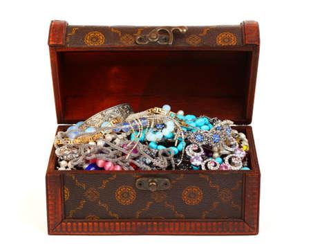 Treasure chest isolated on white photo