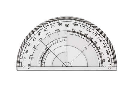 Transparent protractor isolated on white Фото со стока