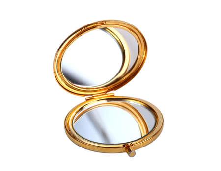 Espejo de oro aislado en blanco Foto de archivo - 37069532