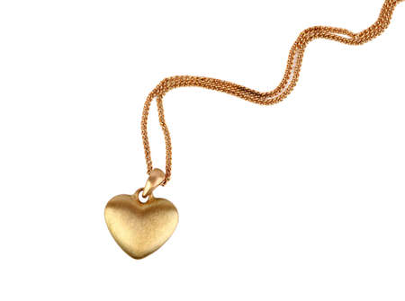 Golden heart pendant isolated on white 스톡 콘텐츠