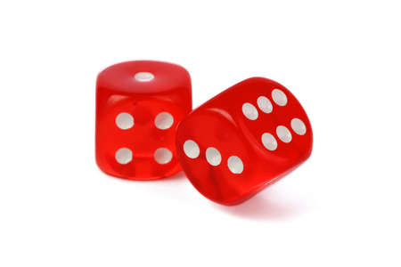 rolling dice: Red dice isolated on white