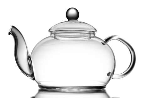 Glass teapot isolated on white
