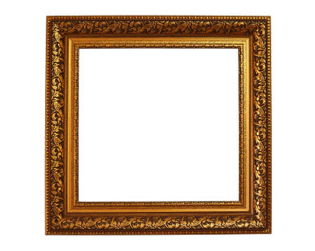 gold picture frame: Vintage frame isolated on white