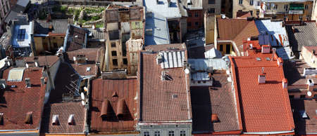 lvov: Roofs of Lvov from the tower, Ukraine Stock Photo