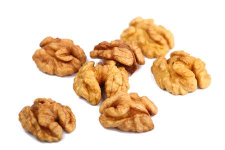 Walnut kernels isolated on white