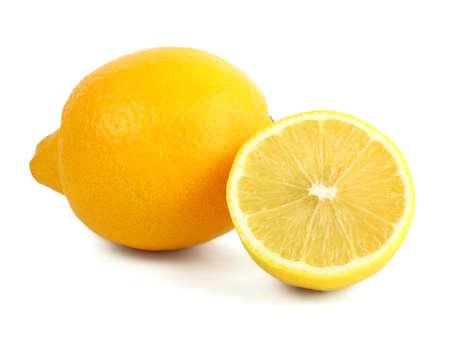 Fresh yellow lemon isolated on white