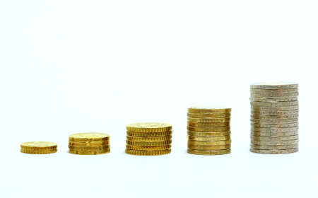 Euro Coins that grow its value grow in quantity and size Stock Photo