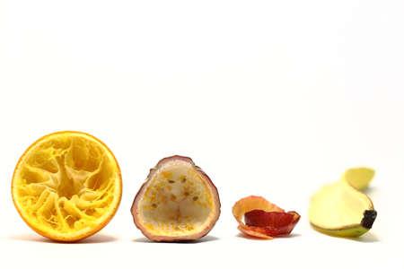 Tomma frukter visar förnybarhet av naturliga förpackningar Stockfoto