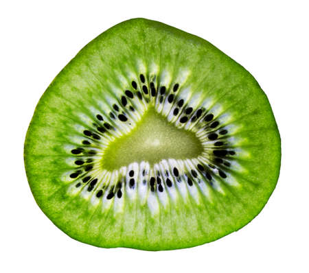 Beautiful slice of green kiwi   Stock Photo