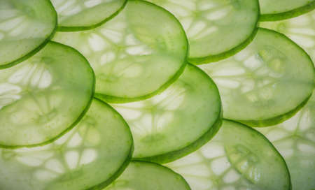 Nice green and healthy cucumber slices  Stock Photo