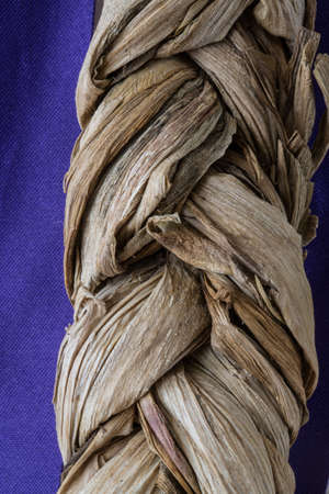 Braided plant strings with a beautiful purple background