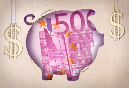 A money bill behind a colorful paper cutout of a piggy bank