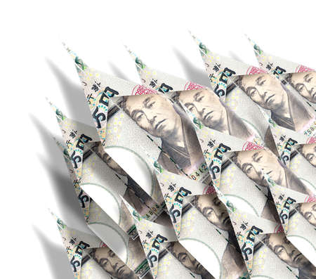 Paper planes made out of money bills flying onedirectional to the sky