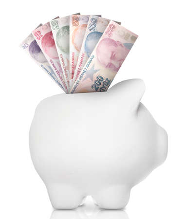 developing country: A white piggy bank filled with multiple bank notes. Stock Photo