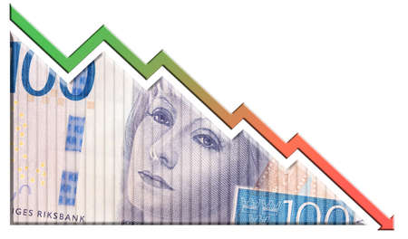 declining: A money bill looking like a declining graph with an downward pointing arrow symbolizing economic relationships. Stock Photo