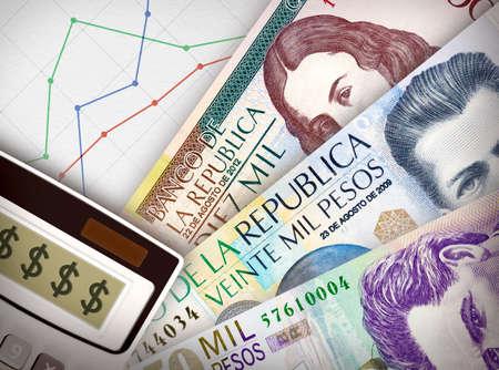 Trois projets de loi de l'argent en face d'une feuille de papier avec un graphique sur elle symbolise les relations économiques.