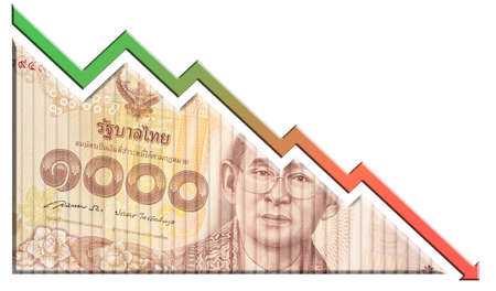 A money bill looking like a declining graph with an downward pointing arrow symbolizing economic relationships. Stock Photo