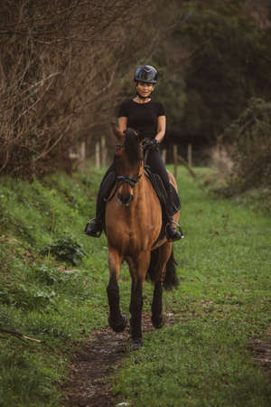 Female rider dressed in black and with a black helmet riding her brown horse along a country lane
