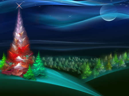 Christmas fur-tree in the night forest. Series fractal world Stock Photo - 1648018