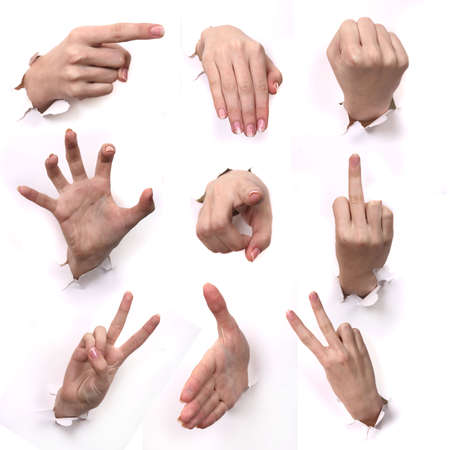 A series Gestures of hands .  Stock Photo