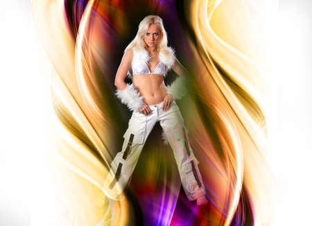 The beautiful dancer on a color design background photo