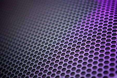 Background image with a three-dimensional hexagonal texture and multi-colored backlight. Image for design and as Wallpaper.