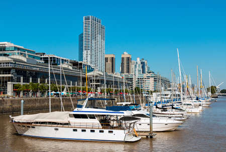 mujer: Harbor Puerto Madero Buenos Aires Argentine, skyline and ships Stock Photo