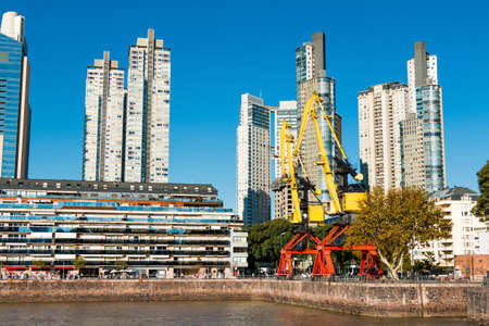 mujer: Harbor Puerto Madero Buenos Aires Argentine skyline and ships