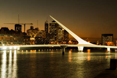 Womens bridge at night Puerto Madero Buenos Aires Argentina Standard-Bild