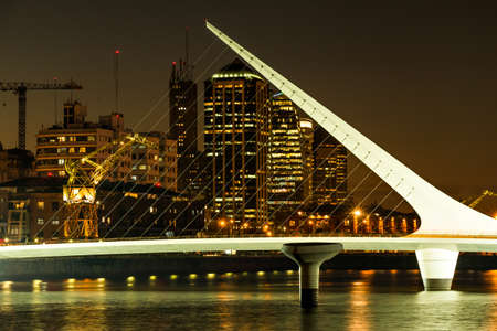 mujer: Womens bridge at night Puerto Madero Buenos Aires Argentina Stock Photo