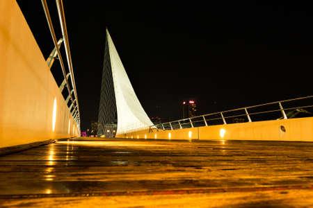 mujer: Womens bridge at night Puerto Madero Buenos Aires Argentine Stock Photo