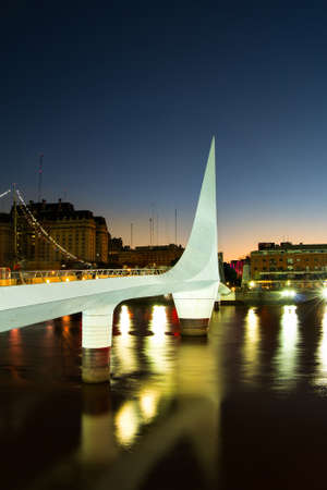 mujer: Womens bridge at night Puerto Madero Buenos Aires Argentine Stock Photo
