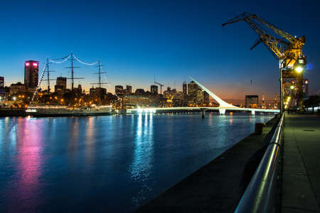 buenos: Womens bridge at night Puerto Madero Buenos Aires Argentine Stock Photo