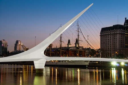 southamerica: Womens bridge at night Puerto Madero Buenos Aires Argentine Stock Photo