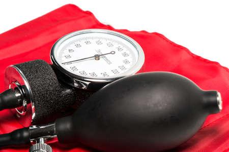 cuff: red Blood pressure cuff, close-up isolated