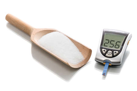 Glucose concentration in the blood test with a blood glucose meter Zdjęcie Seryjne