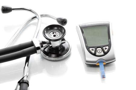 血糖測定と血液検査でグルコース濃度 写真素材