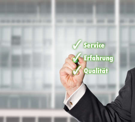 electronically: businessman hooked a Virtual check-list with a green check pen Stock Photo