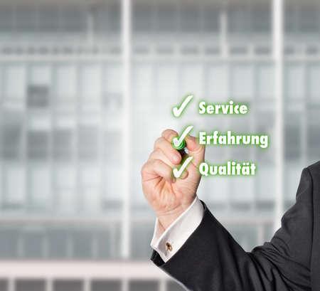 businessman hooked a Virtual check-list with a green check pen Reklamní fotografie