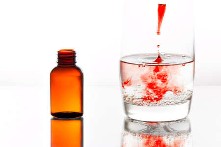 swallowing: Medicine dropping with a pipette into a glass of water